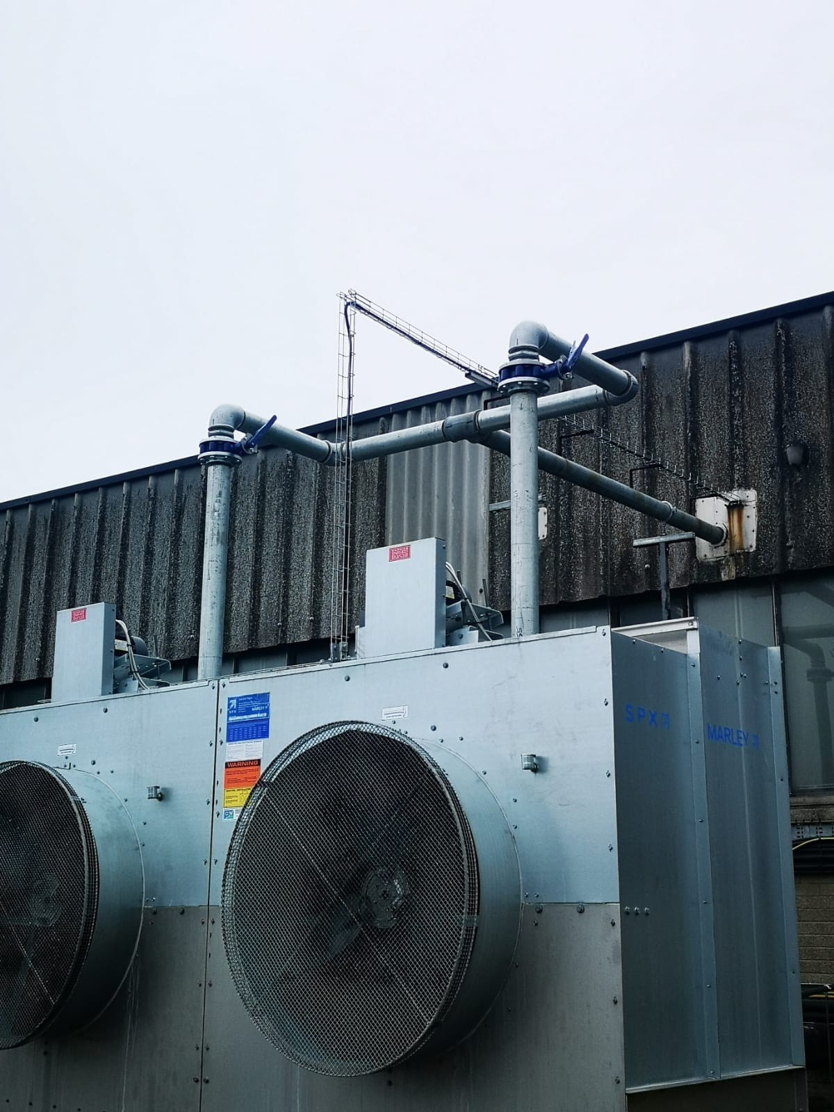 Pipework installation for 2 Water Cooling Towers linked together
