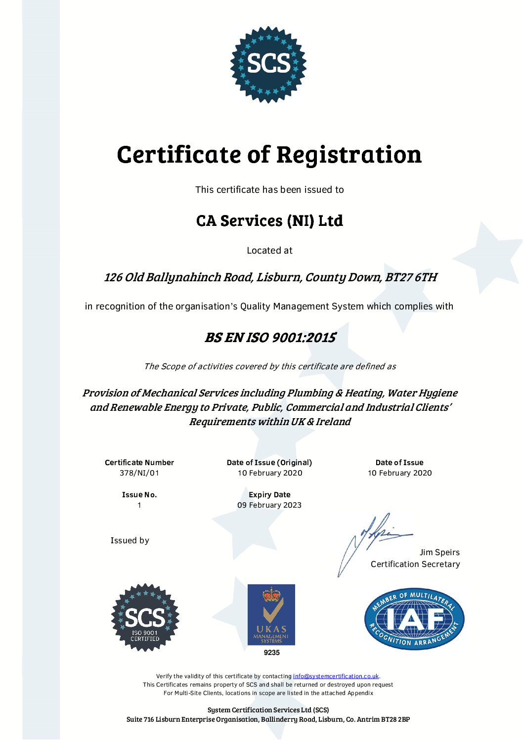 C A Services achieves ISO 9001:2015 certification Quality Management System